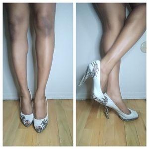 BCBG cream and snakeskin printed peep toe shoe